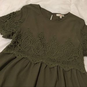 A-Line Dress with Crochet Lace Accent